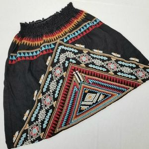 Johnny Was Aztec Embroidered Linen Mini Skirt